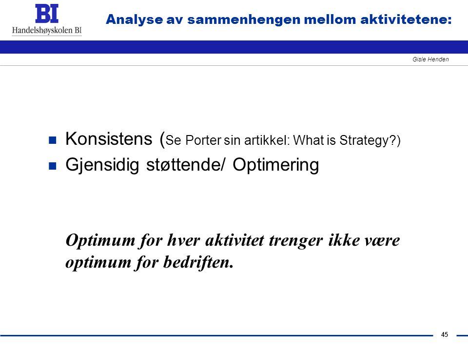 45 Gisle Henden Analyse av sammenhengen mellom aktivitetene: n Konsistens ( Se Porter sin artikkel: What is Strategy?) n Gjensidig støttende/ Optimeri