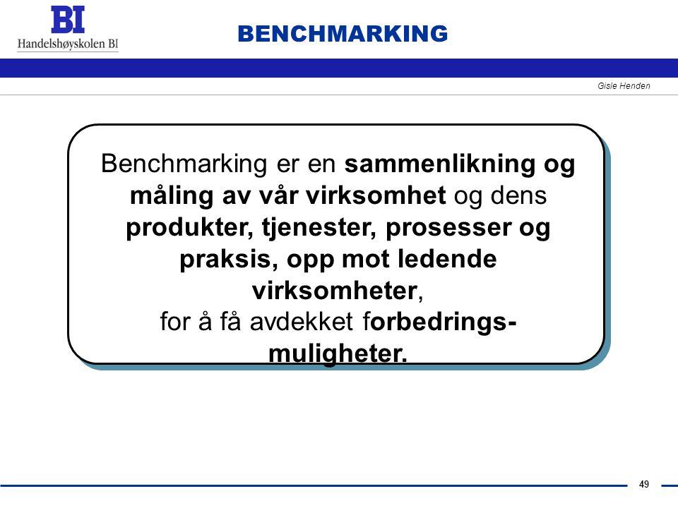 49 Gisle Henden BENCHMARKING Benchmarking er en sammenlikning og måling av vår virksomhet og dens produkter, tjenester, prosesser og praksis, opp mot