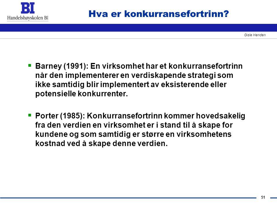 51 Gisle Henden Hva er konkurransefortrinn?  Barney (1991): En virksomhet har et konkurransefortrinn når den implementerer en verdiskapende strategi