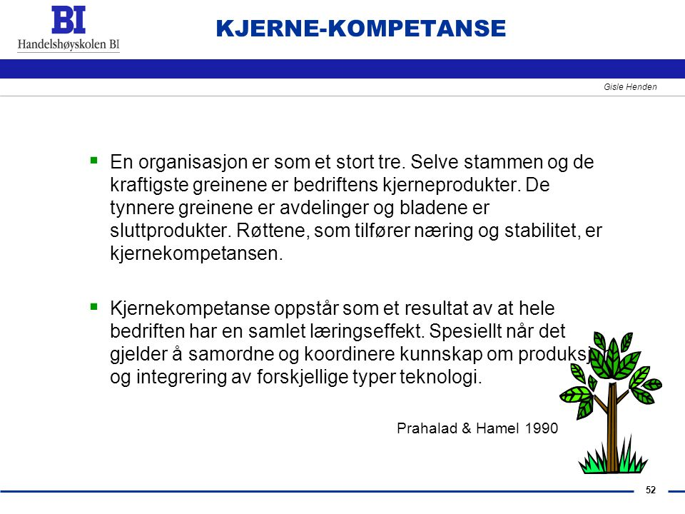 52 Gisle Henden KJERNE-KOMPETANSE  En organisasjon er som et stort tre. Selve stammen og de kraftigste greinene er bedriftens kjerneprodukter. De tyn