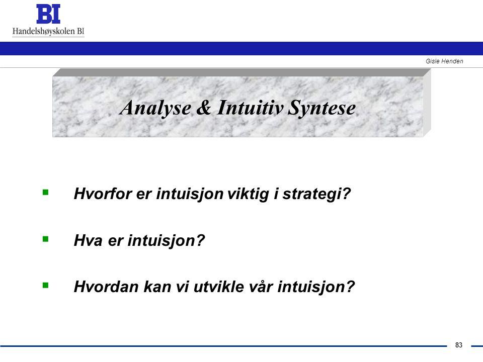 83 Gisle Henden  Hvorfor er intuisjon viktig i strategi?  Hva er intuisjon?  Hvordan kan vi utvikle vår intuisjon? Analyse & Intuitiv Syntese