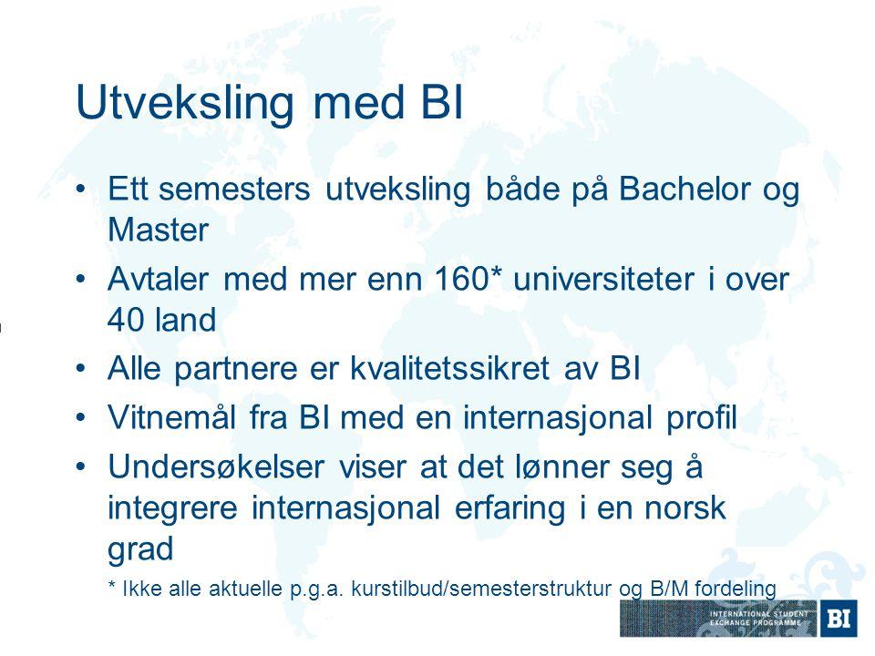 Utveksling med BI Ett semesters utveksling både på Bachelor og Master Avtaler med mer enn 160* universiteter i over 40 land Alle partnere er kvalitets