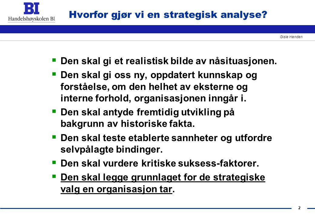 2 Gisle Henden Hvorfor gjør vi en strategisk analyse?  Den skal gi et realistisk bilde av nåsituasjonen.  Den skal gi oss ny, oppdatert kunnskap og