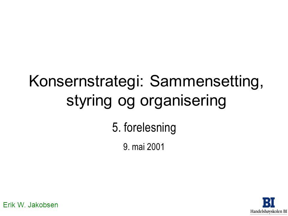 Erik W. Jakobsen Konsernstrategi: Sammensetting, styring og organisering 5. forelesning 9. mai 2001
