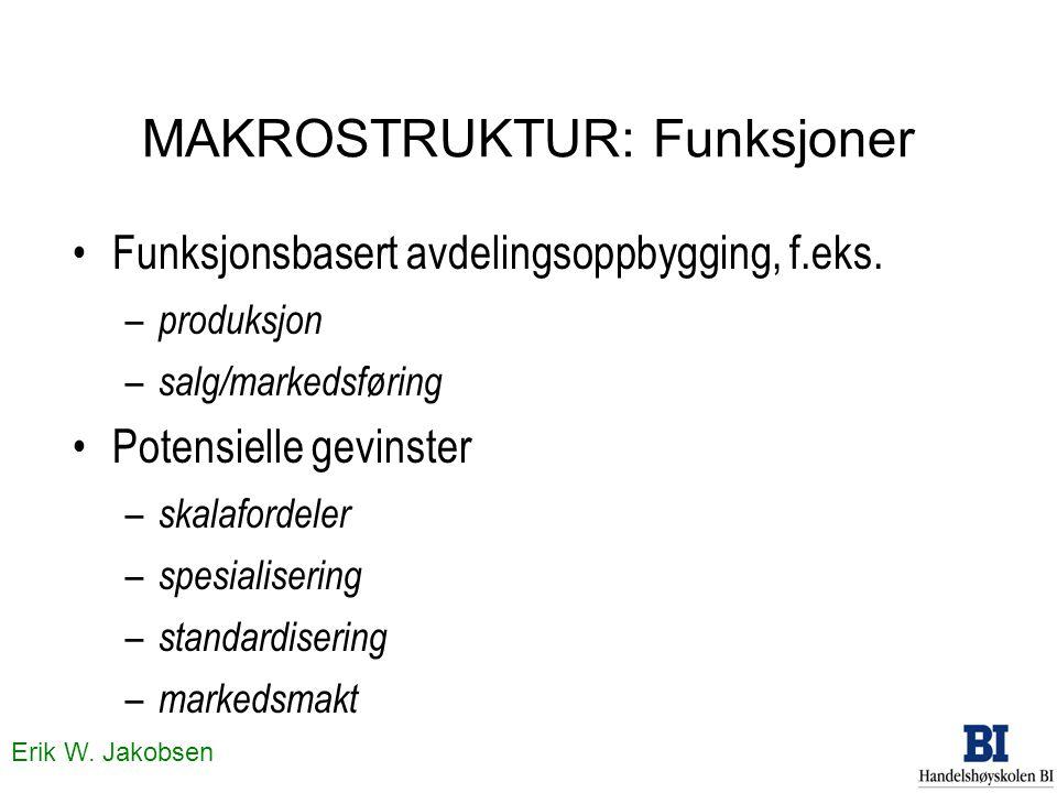Erik W. Jakobsen MAKROSTRUKTUR: Funksjoner Funksjonsbasert avdelingsoppbygging, f.eks. – produksjon – salg/markedsføring Potensielle gevinster – skala