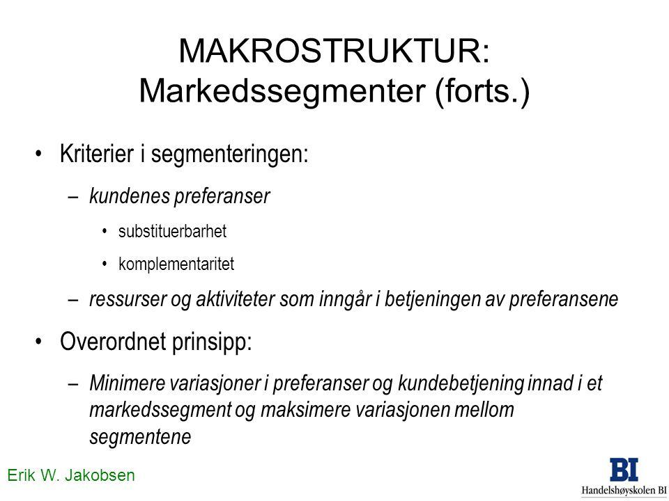 Erik W. Jakobsen MAKROSTRUKTUR: Markedssegmenter (forts.) Kriterier i segmenteringen: – kundenes preferanser substituerbarhet komplementaritet – ressu