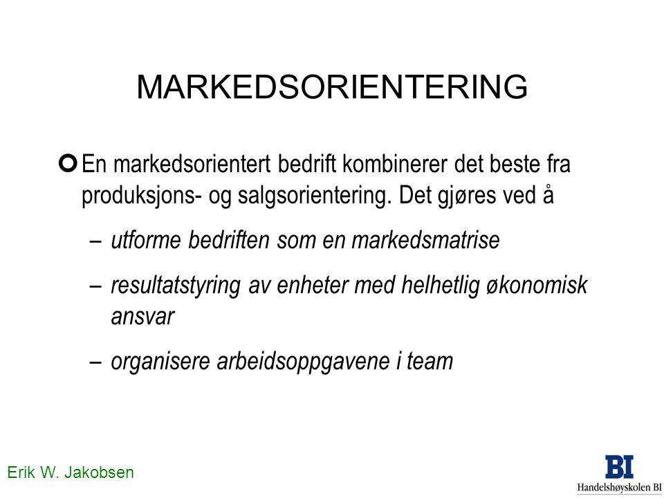 Erik W. Jakobsen MARKEDSORIENTERING ¢En markedsorientert bedrift kombinerer det beste fra produksjons- og salgsorientering. Det gjøres ved å – utforme