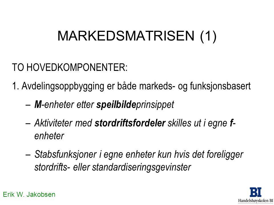 Erik W. Jakobsen MARKEDSMATRISEN (1) TO HOVEDKOMPONENTER: 1. Avdelingsoppbygging er både markeds- og funksjonsbasert – M -enheter etter speilbilde pri