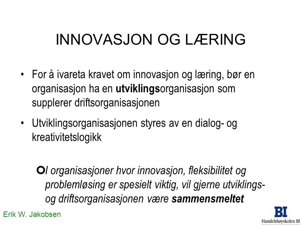 Erik W. Jakobsen INNOVASJON OG LÆRING For å ivareta kravet om innovasjon og læring, bør en organisasjon ha en utviklings organisasjon som supplerer dr