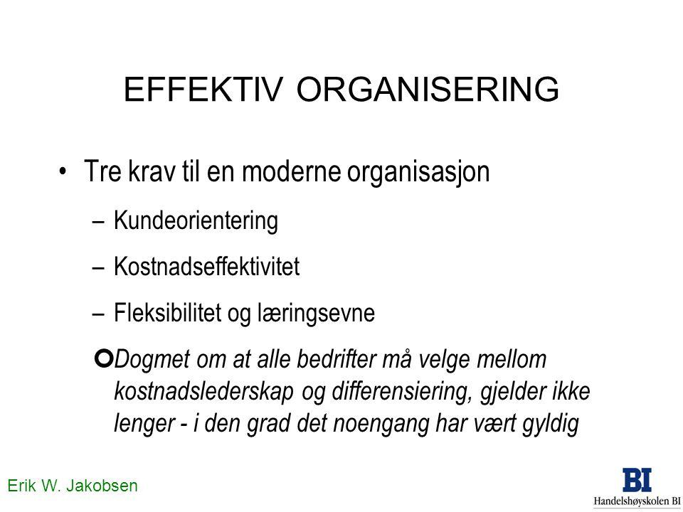 Erik W. Jakobsen EFFEKTIV ORGANISERING Tre krav til en moderne organisasjon –Kundeorientering –Kostnadseffektivitet –Fleksibilitet og læringsevne ¢ Do