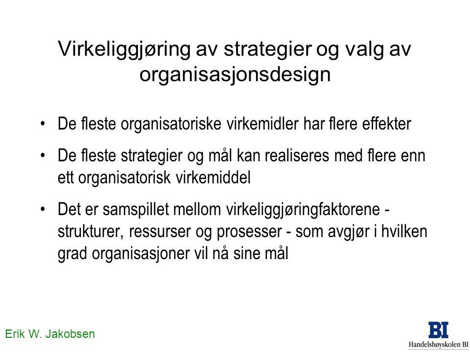Erik W. Jakobsen Virkeliggjøring av strategier og valg av organisasjonsdesign De fleste organisatoriske virkemidler har flere effekter De fleste strat