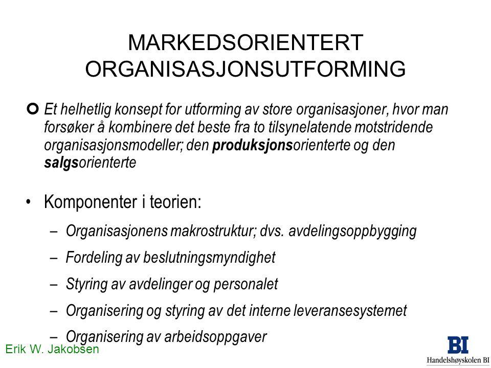 Erik W. Jakobsen MARKEDSORIENTERT ORGANISASJONSUTFORMING ¢ Et helhetlig konsept for utforming av store organisasjoner, hvor man forsøker å kombinere d