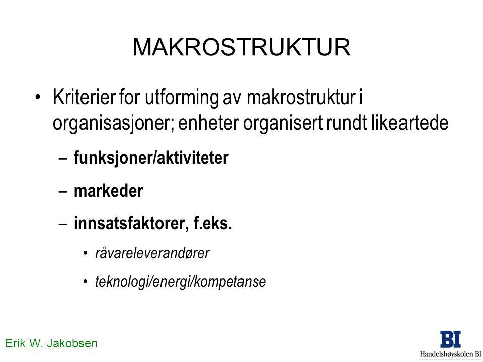 Erik W. Jakobsen MAKROSTRUKTUR Kriterier for utforming av makrostruktur i organisasjoner; enheter organisert rundt likeartede – funksjoner/aktiviteter