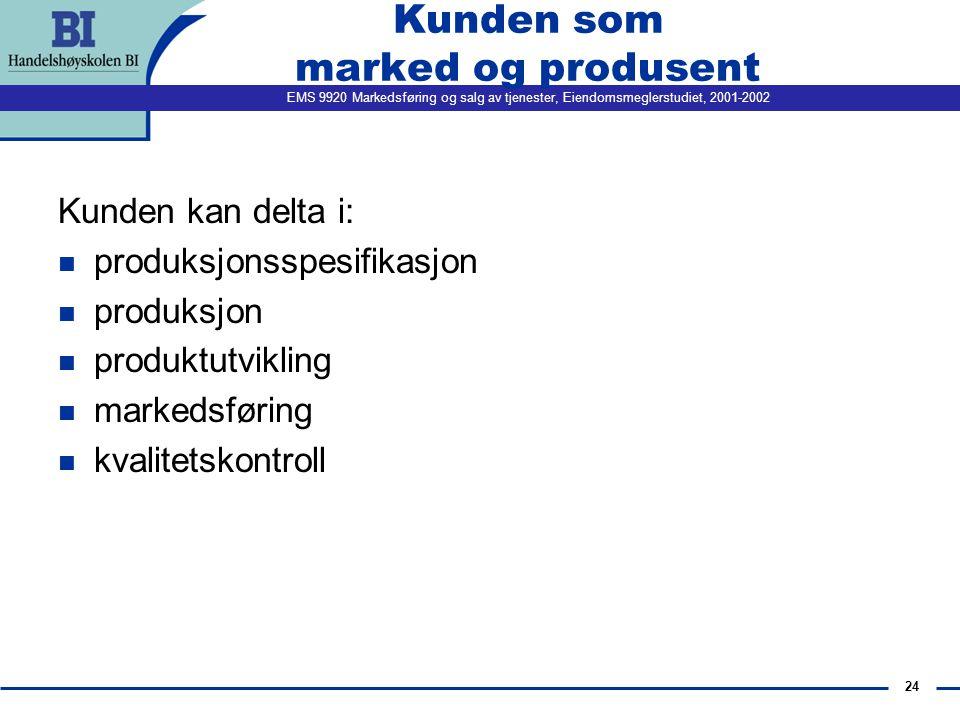 EMS 9920 Markedsføring og salg av tjenester, Eiendomsmeglerstudiet, 2001-2002 24 Kunden som marked og produsent Kunden kan delta i: n produksjonsspesifikasjon n produksjon n produktutvikling n markedsføring n kvalitetskontroll