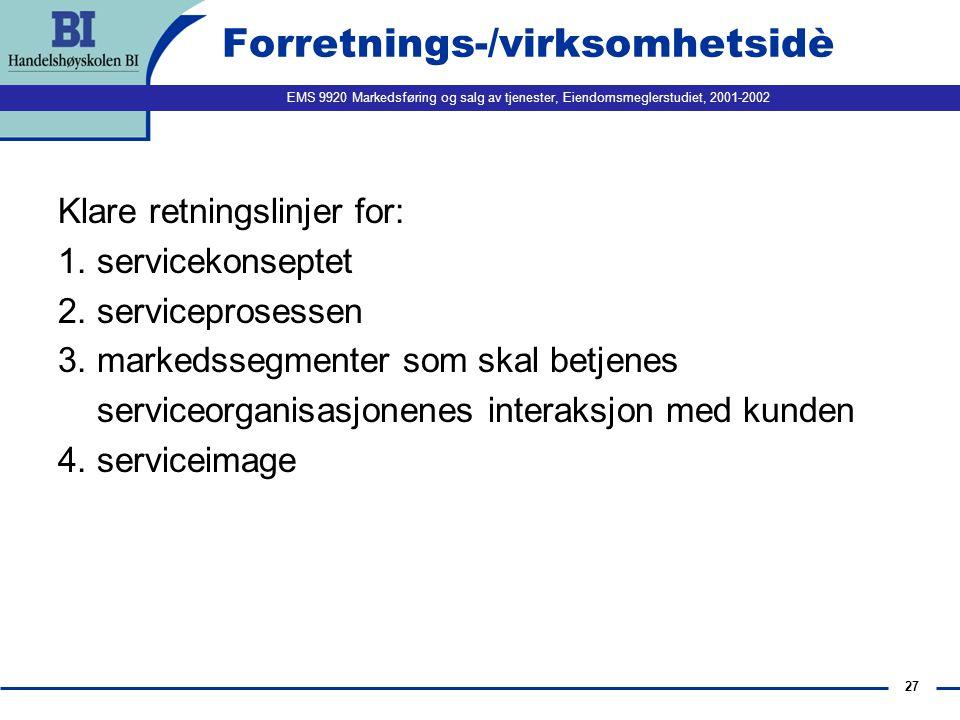 EMS 9920 Markedsføring og salg av tjenester, Eiendomsmeglerstudiet, 2001-2002 27 Forretnings-/virksomhetsidè Klare retningslinjer for: 1.