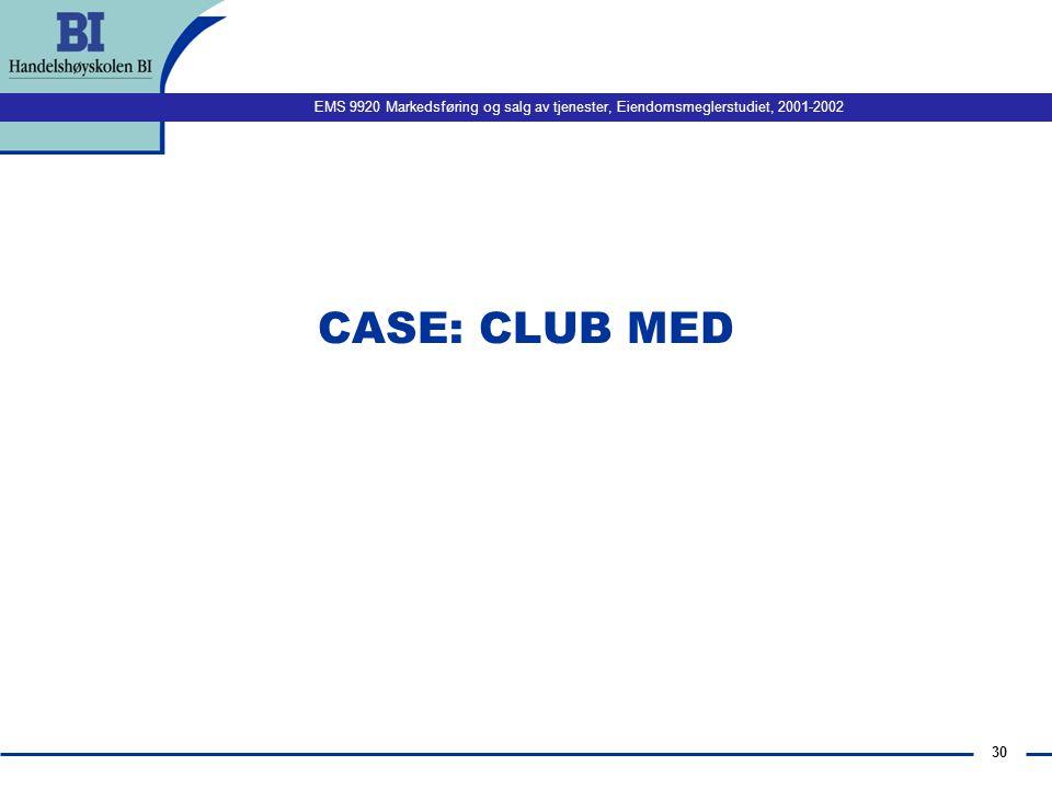 EMS 9920 Markedsføring og salg av tjenester, Eiendomsmeglerstudiet, 2001-2002 30 CASE: CLUB MED