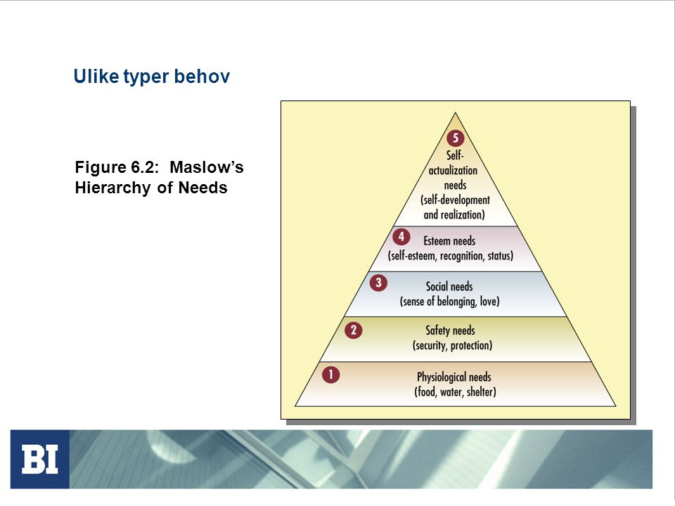Ulike typer behov Figure 6.2: Maslow's Hierarchy of Needs