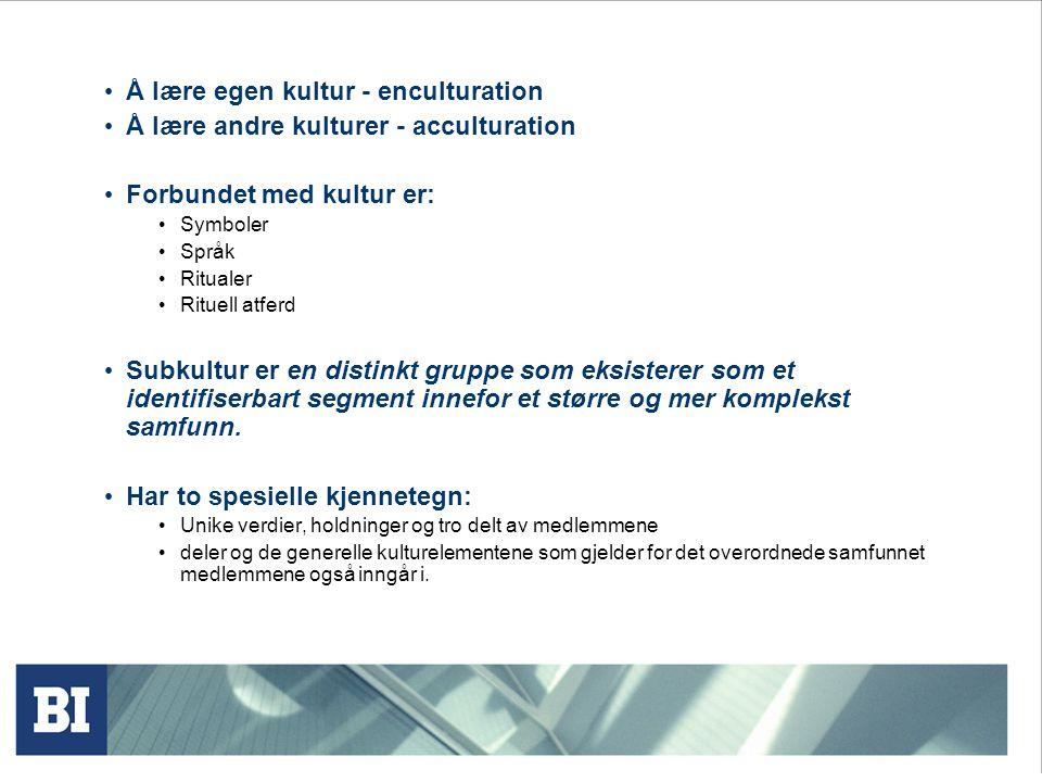 Baser for subkultur Nasjonalitet eks.Norsk-amerikanere Religion eks.