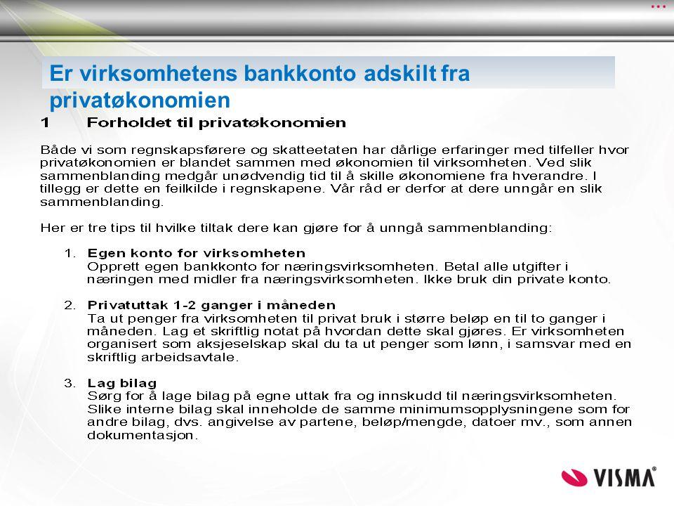 Er virksomhetens bankkonto adskilt fra privatøkonomien