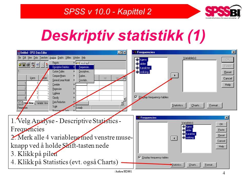 SPSS v 10.0 - Kapittel 2 /Aakre/H2001 4 Deskriptiv statistikk (1) 1.