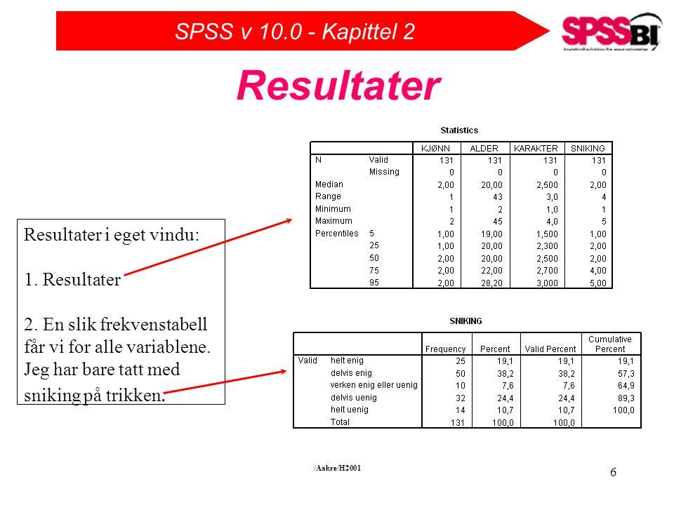 SPSS v 10.0 - Kapittel 2 /Aakre/H2001 6 Resultater Resultater i eget vindu: 1.