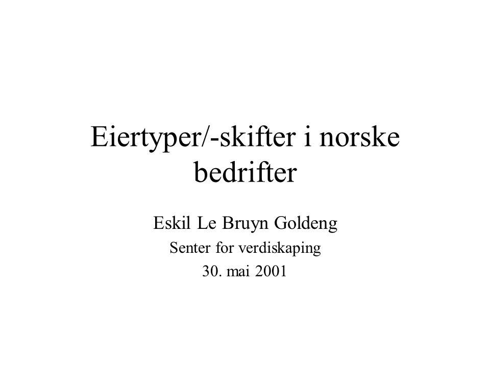Eiertyper/-skifter i norske bedrifter Eskil Le Bruyn Goldeng Senter for verdiskaping 30. mai 2001