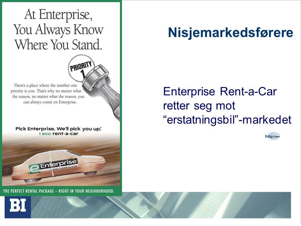 """Nisjemarkedsførere Enterprise Rent-a-Car retter seg mot """"erstatningsbil""""-markedet"""