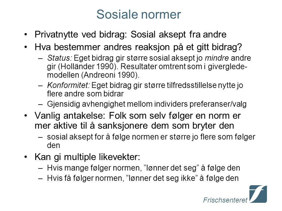Frischsenteret Sosiale normer Privatnytte ved bidrag: Sosial aksept fra andre Hva bestemmer andres reaksjon på et gitt bidrag.