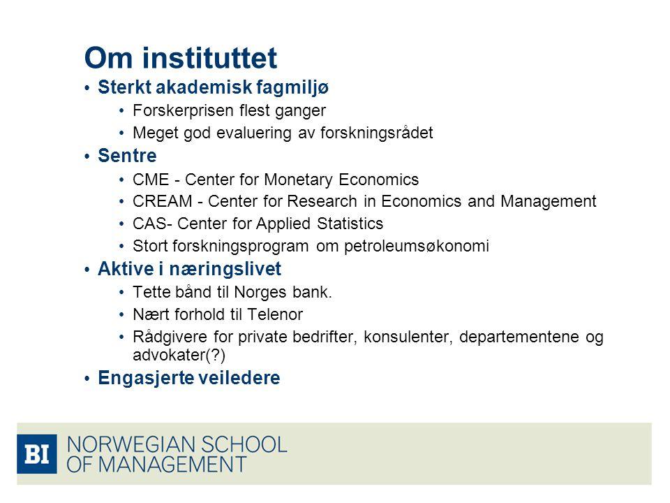 Om instituttet Sterkt akademisk fagmiljø Forskerprisen flest ganger Meget god evaluering av forskningsrådet Sentre CME - Center for Monetary Economics