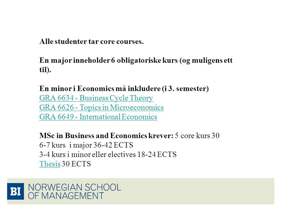 Alle studenter tar core courses. En major inneholder 6 obligatoriske kurs (og muligens ett til). En minor i Economics må inkludere (i 3. semester) GRA