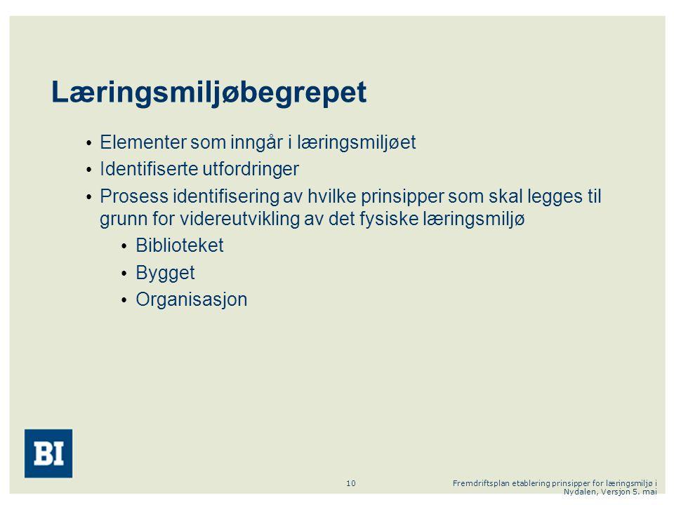Fremdriftsplan etablering prinsipper for læringsmiljø i Nydalen, Versjon 5. mai 10 Læringsmiljøbegrepet Elementer som inngår i læringsmiljøet Identifi