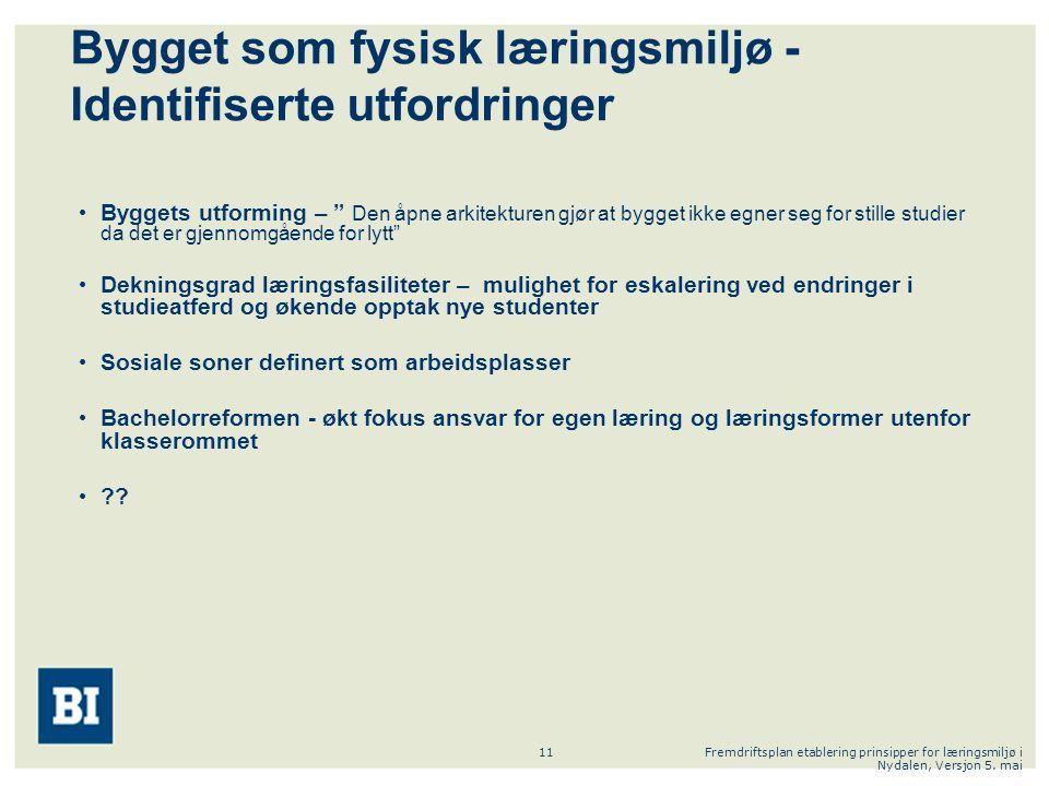Fremdriftsplan etablering prinsipper for læringsmiljø i Nydalen, Versjon 5. mai 11 Bygget som fysisk læringsmiljø - Identifiserte utfordringer Byggets