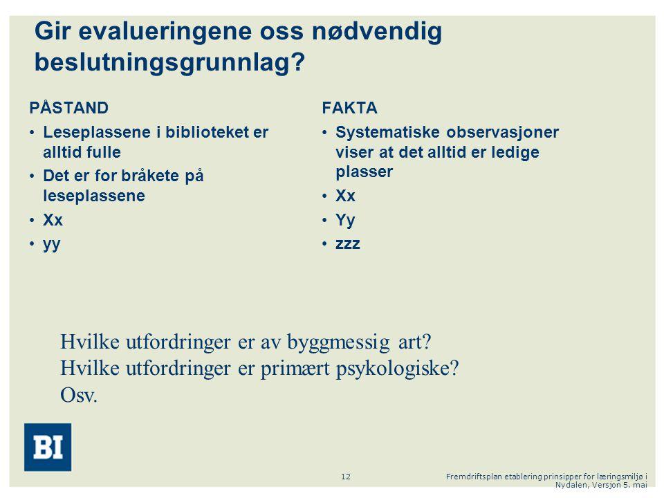 Fremdriftsplan etablering prinsipper for læringsmiljø i Nydalen, Versjon 5. mai 12 PÅSTAND Leseplassene i biblioteket er alltid fulle Det er for bråke