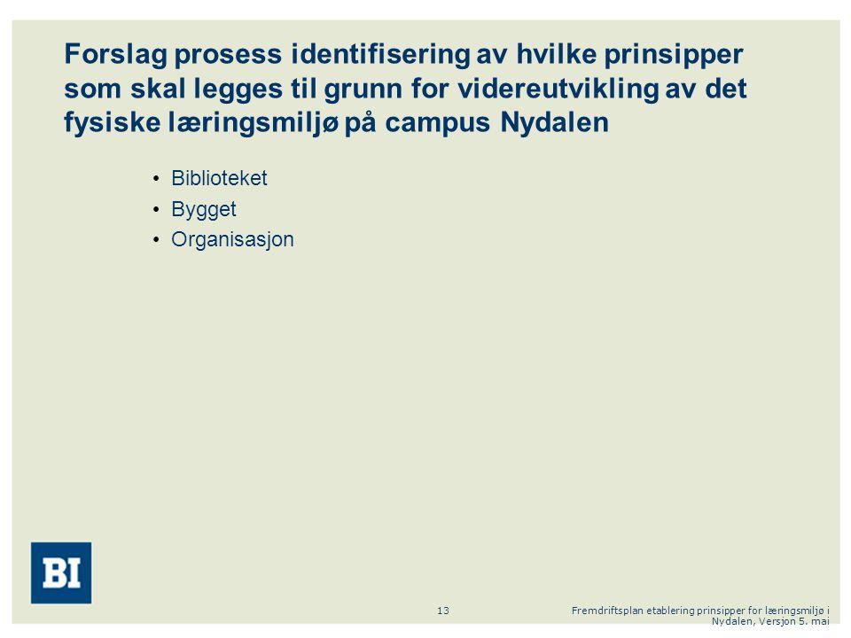 Fremdriftsplan etablering prinsipper for læringsmiljø i Nydalen, Versjon 5. mai 13 Forslag prosess identifisering av hvilke prinsipper som skal legges