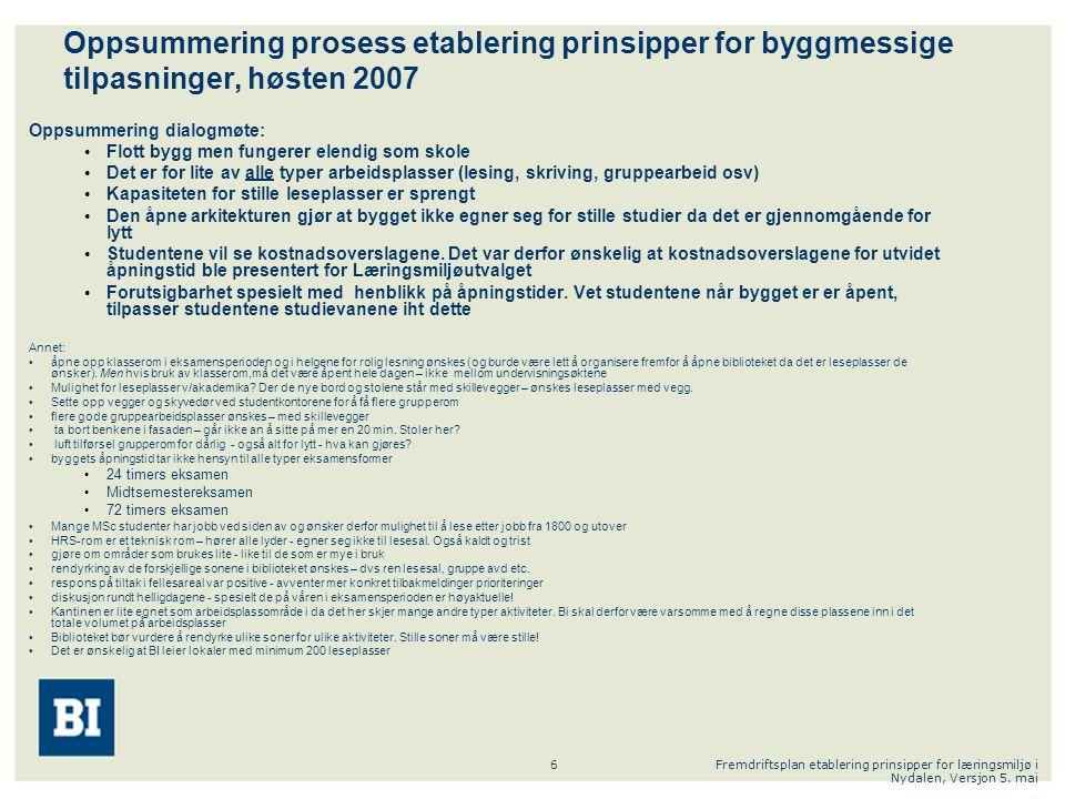 Fremdriftsplan etablering prinsipper for læringsmiljø i Nydalen, Versjon 5. mai 6 Oppsummering prosess etablering prinsipper for byggmessige tilpasnin