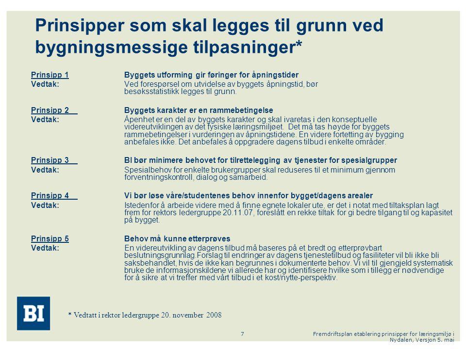Fremdriftsplan etablering prinsipper for læringsmiljø i Nydalen, Versjon 5. mai 7 Prinsipper som skal legges til grunn ved bygningsmessige tilpasninge