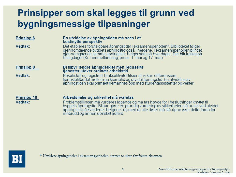 Fremdriftsplan etablering prinsipper for læringsmiljø i Nydalen, Versjon 5. mai 8 Prinsipper som skal legges til grunn ved bygningsmessige tilpasninge