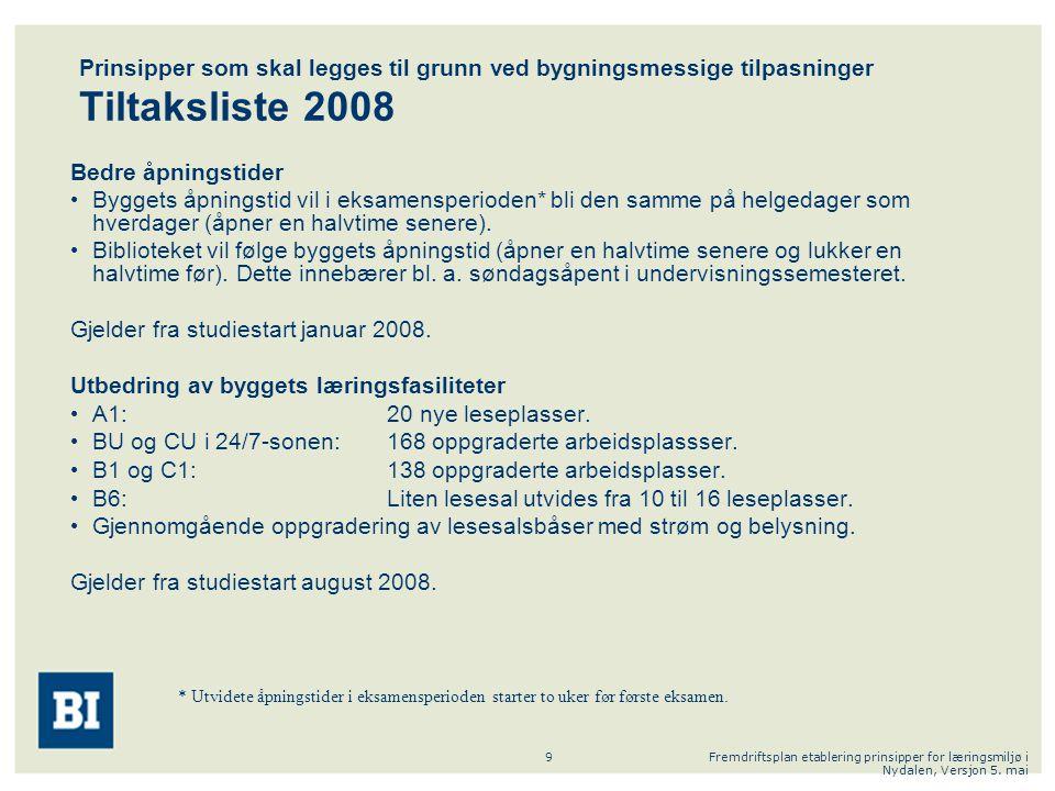 Fremdriftsplan etablering prinsipper for læringsmiljø i Nydalen, Versjon 5. mai 9 Prinsipper som skal legges til grunn ved bygningsmessige tilpasninge