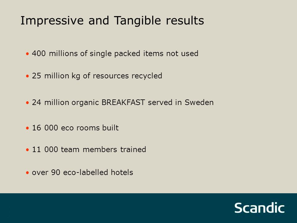 16 000 eco rooms built 400 millions of single packed items not used 11 000 team members trained 25 million kg of resources recycled 24 million organic BREAKFAST served in Sweden Impressive and Tangible results over 90 eco-labelled hotels