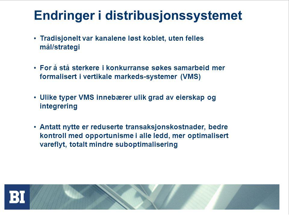 Endringer i distribusjonssystemet Tradisjonelt var kanalene løst koblet, uten felles mål/strategi For å stå sterkere i konkurranse søkes samarbeid mer formalisert i vertikale markeds-systemer (VMS) Ulike typer VMS innebærer ulik grad av eierskap og integrering Antatt nytte er reduserte transaksjonskostnader, bedre kontroll med opportunisme i alle ledd, mer optimalisert vareflyt, totalt mindre suboptimalisering