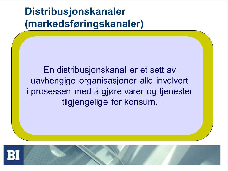 Distribusjonskanaler (markedsføringskanaler) En distribusjonskanal er et sett av uavhengige organisasjoner alle involvert i prosessen med å gjøre varer og tjenester tilgjengelige for konsum.