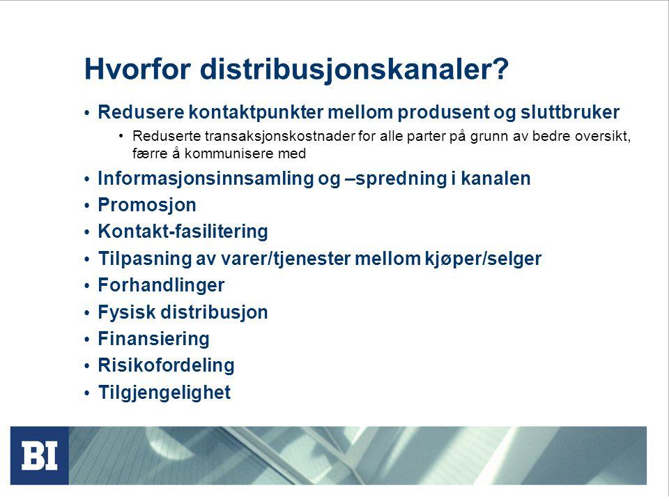 Hvorfor distribusjonskanaler? Redusere kontaktpunkter mellom produsent og sluttbruker Reduserte transaksjonskostnader for alle parter på grunn av bedr