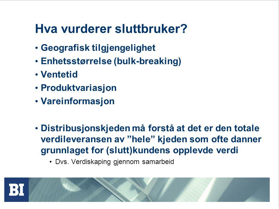 Hva vurderer sluttbruker? Geografisk tilgjengelighet Enhetsstørrelse (bulk-breaking) Ventetid Produktvariasjon Vareinformasjon Distribusjonskjeden må