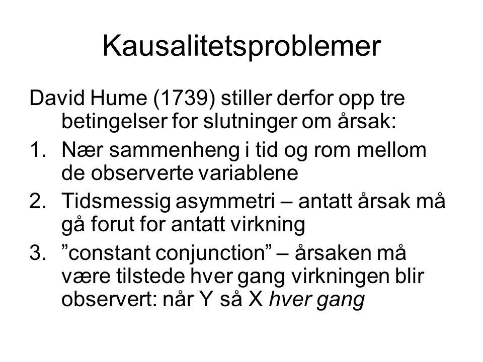 Kausalitetsproblemer David Hume (1739) stiller derfor opp tre betingelser for slutninger om årsak: 1.Nær sammenheng i tid og rom mellom de observerte