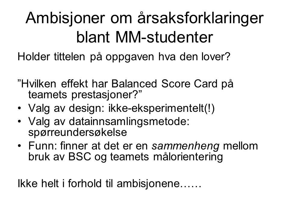 """Ambisjoner om årsaksforklaringer blant MM-studenter Holder tittelen på oppgaven hva den lover? """"Hvilken effekt har Balanced Score Card på teamets pres"""