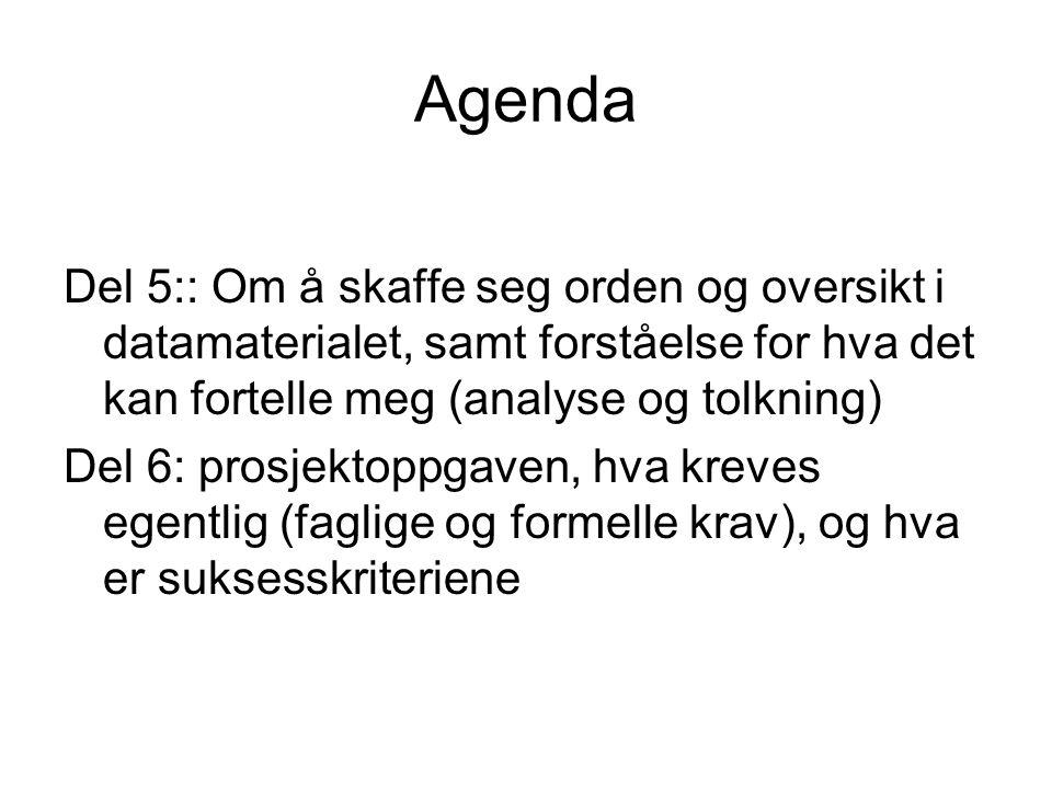 Agenda Del 5:: Om å skaffe seg orden og oversikt i datamaterialet, samt forståelse for hva det kan fortelle meg (analyse og tolkning) Del 6: prosjekto