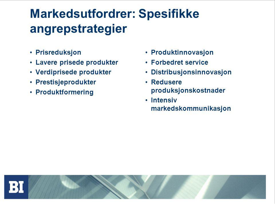Prisreduksjon Lavere prisede produkter Verdiprisede produkter Prestisjeprodukter Produktformering Produktinnovasjon Forbedret service Distribusjonsinnovasjon Redusere produksjonskostnader Intensiv markedskommunikasjon Markedsutfordrer: Spesifikke angrepstrategier