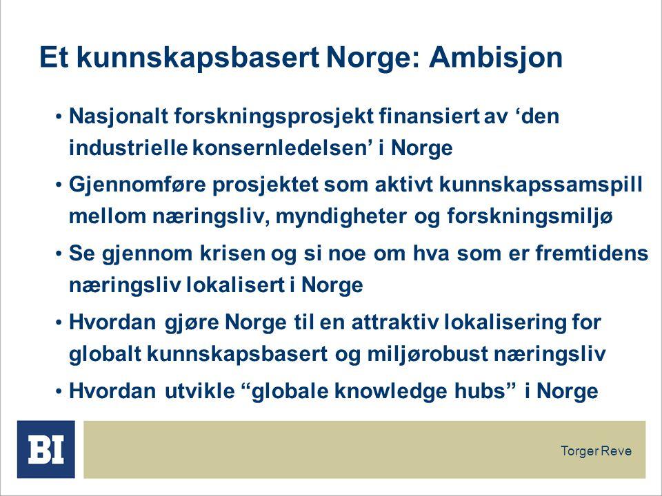 Et kunnskapsbasert Norge: Ambisjon Nasjonalt forskningsprosjekt finansiert av 'den industrielle konsernledelsen' i Norge Gjennomføre prosjektet som aktivt kunnskapssamspill mellom næringsliv, myndigheter og forskningsmiljø Se gjennom krisen og si noe om hva som er fremtidens næringsliv lokalisert i Norge Hvordan gjøre Norge til en attraktiv lokalisering for globalt kunnskapsbasert og miljørobust næringsliv Hvordan utvikle globale knowledge hubs i Norge