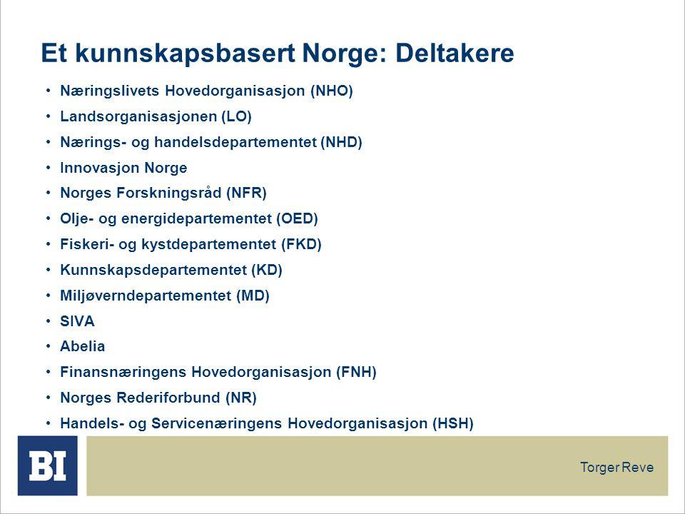 Torger Reve Et kunnskapsbasert Norge: Deltakere Næringslivets Hovedorganisasjon (NHO) Landsorganisasjonen (LO) Nærings- og handelsdepartementet (NHD) Innovasjon Norge Norges Forskningsråd (NFR) Olje- og energidepartementet (OED) Fiskeri- og kystdepartementet (FKD) Kunnskapsdepartementet (KD) Miljøverndepartementet (MD) SIVA Abelia Finansnæringens Hovedorganisasjon (FNH) Norges Rederiforbund (NR) Handels- og Servicenæringens Hovedorganisasjon (HSH)