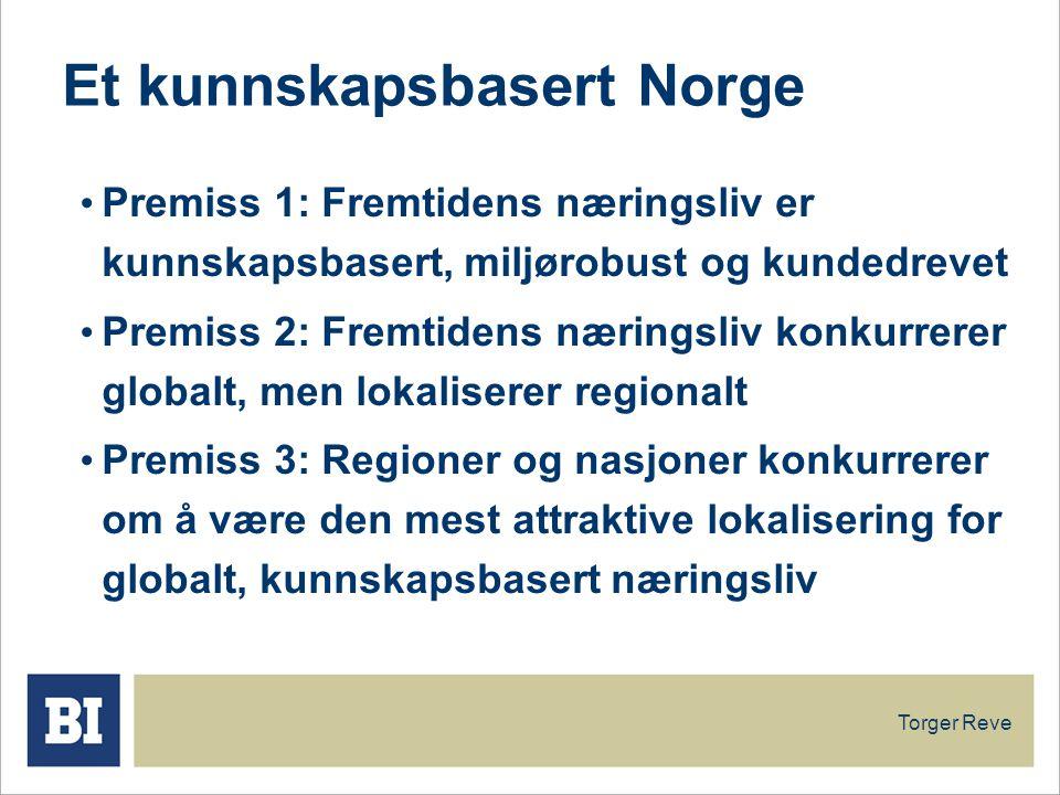 Torger Reve Et kunnskapsbasert Norge Premiss 1: Fremtidens næringsliv er kunnskapsbasert, miljørobust og kundedrevet Premiss 2: Fremtidens næringsliv konkurrerer globalt, men lokaliserer regionalt Premiss 3: Regioner og nasjoner konkurrerer om å være den mest attraktive lokalisering for globalt, kunnskapsbasert næringsliv